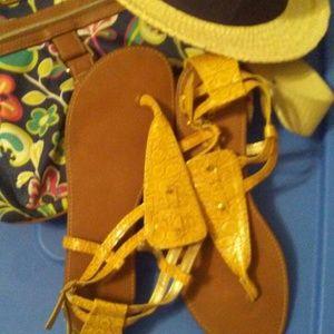Just In Mustard Faux Croc Capri Sandal